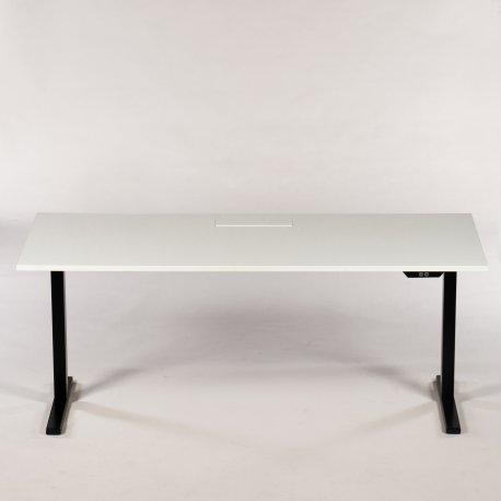 Ragnars hæve-/sænkebord - hvid m. sort stel