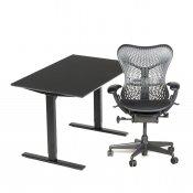 Balder hæve-/sænkebord (nyt) + Mirra kontorstol (brugt)