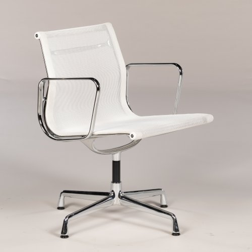Eames Vitra EA 108 - konferencestol med armlæn - hvid mesh