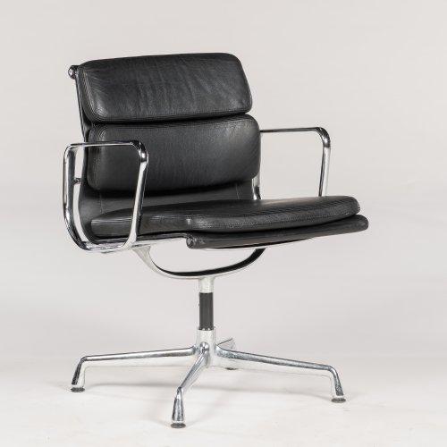 Eames Vitra EA 208 - konferencestol/ kontorstol - sort læder
