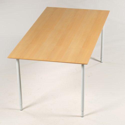 Konferencebord - ahorn - hvidlakeret ben - 180x90 cm.