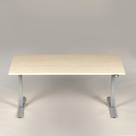 Demo hæve-/sænkebord - birk - 160x80 cm. - gråt stel