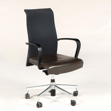 Kusch & Co. - kontorstol - sort stof og brunt lædersæde