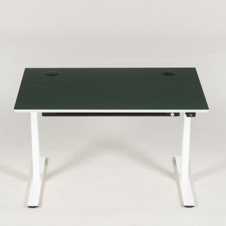 Dencon hæve-/sænkebord - conifer linoleum - hvidt stel - 120x80
