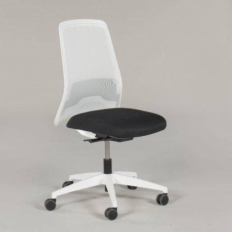 Interstuhl kontorstol - hvid plast - sort sæde - model Every