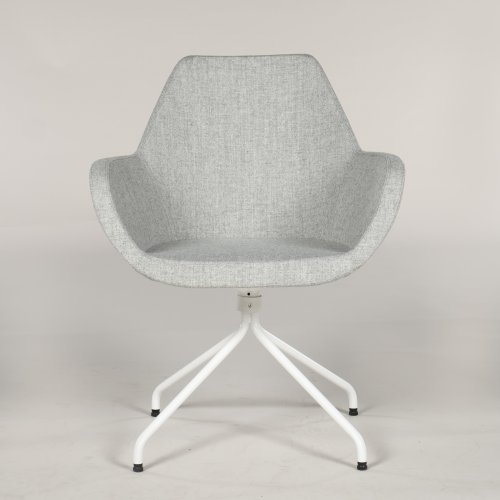 Loungestol - model Torso - lysgrå uld - hvidlakeret stel