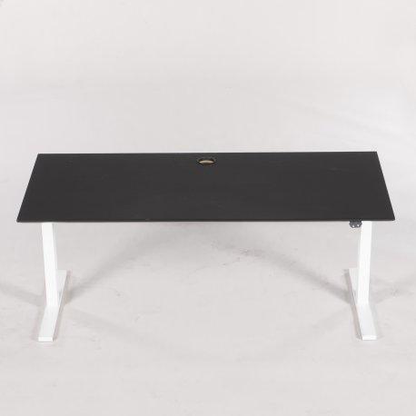 Hæve-/sænkebord - sort linoleum - hvidt Linak stel - 160x80 cm.