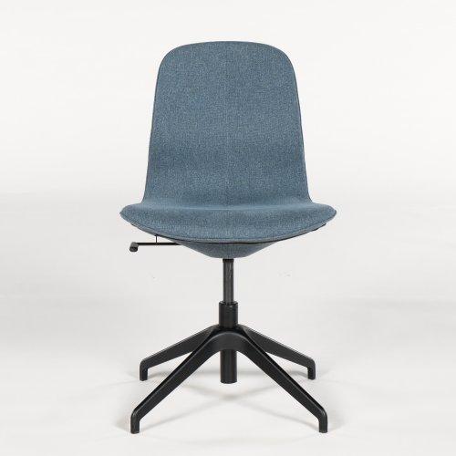 Konferencestol - blålig polstring - sort stel