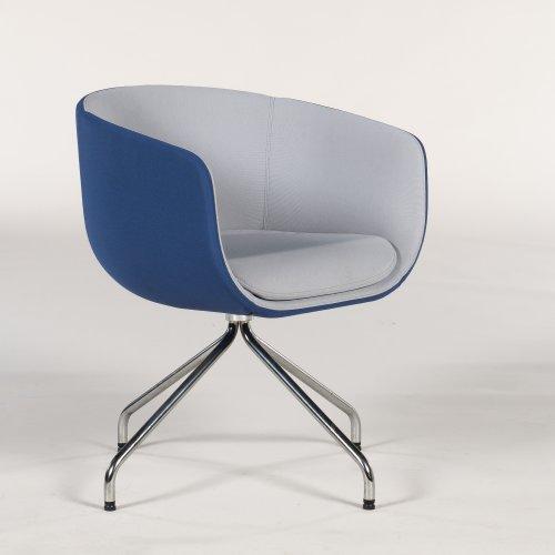 Loungestol - model Nu (tjek) - tofarvet polstring - blå og grå - kromstel