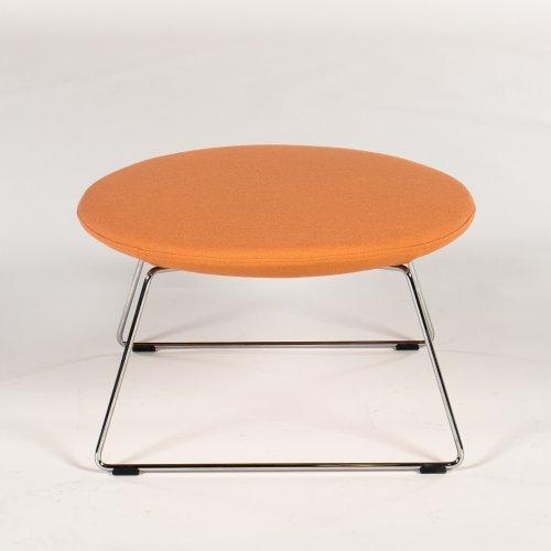 Demo puf/ skammel - model Chic Lounge - lysrød - krom stel