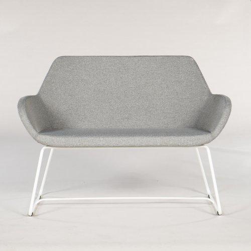 Torso - sofa - gråt stof - hvidt stel - L. 120 cm.
