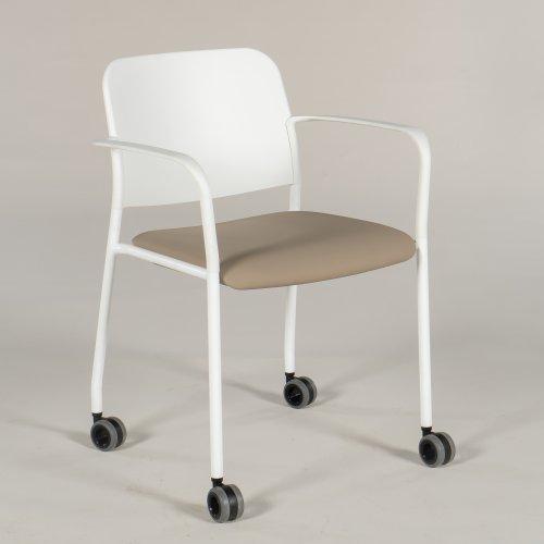 Demo konferencestol - model Com Zoo - hvid plast - lysbrunt sæde - på hjul