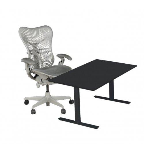 Arbejdsstation m. Herman Miller Mirra + LINAK hæve-/sænkebord