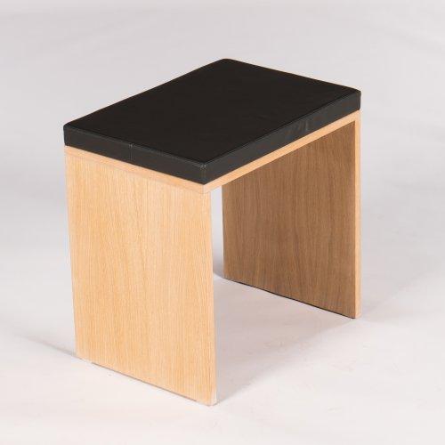 Demo bænk - egetræ - gråt læder - H. 72 cm. L. 70 cm.