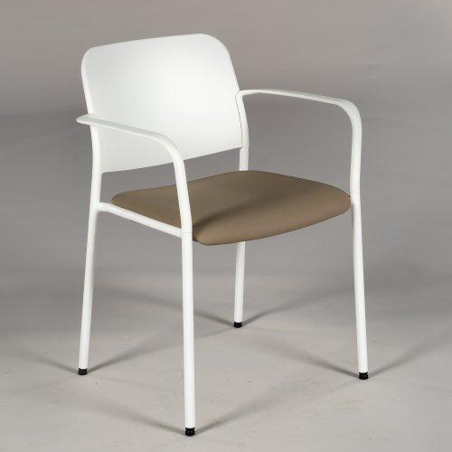 Demo konferencestol - model Com Zoo - hvid plast - lysbrunt sæde - stabelbar