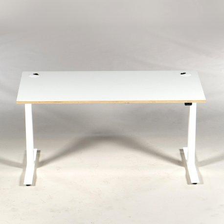 Demo hæve-/sænkebord - hvid - 140x70 cm. - krydsfinérkant