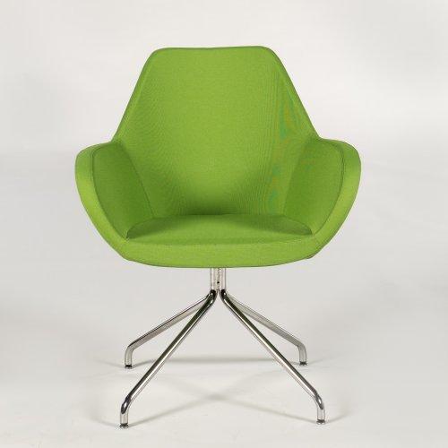 Demo loungestol - model Torso - grønt stof - krom