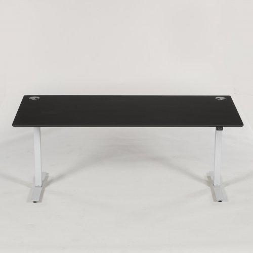 Thor hæve-/sænkebord - rektangulær bordplade - sort linoleum - m. kabelgen. alu - flexi kabelbak - 180x90 cm