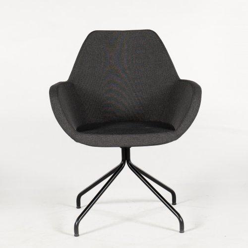 Loungestol - model Torso - mørkgrå polstring - sort stel