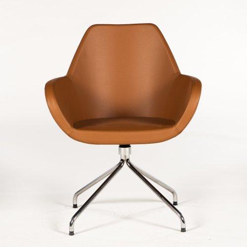 Demo loungestol - model Torso - brunt læder - krom