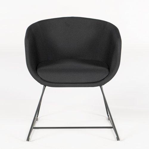 Demo loungestol - model Nu - sort stof - sort stel