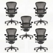 5 stk Aeron Chair m. Tuxedo - Herman Miller