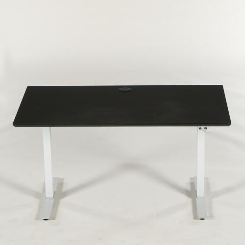 Brugt hæve-/sænkebord - sort linoleum - Loke stel grå - 140x80 cm