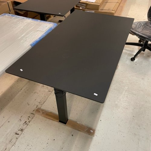 Demo Thor hæve-/sænkebord - sort linoleum - sort stel - 140x80 cm