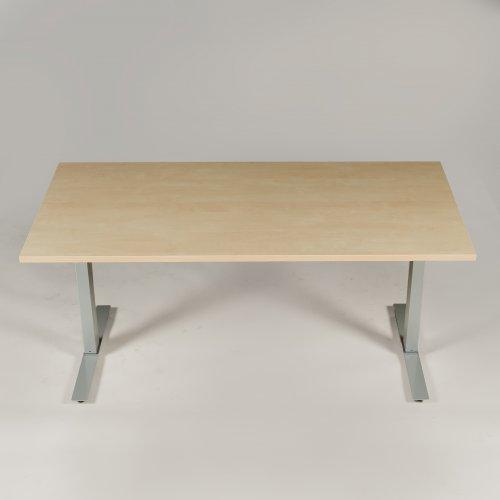 Thor hæve-/sænkebord - birk - gråt stel - 160x80 cm