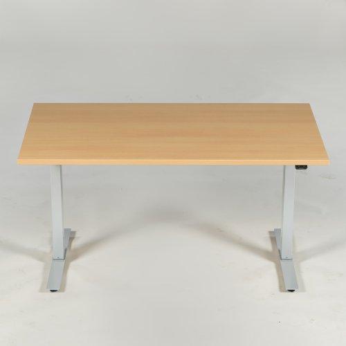 Thor hæve-/sænkebord - bøg m. lige kanter - gråt stel - 140x80 cm