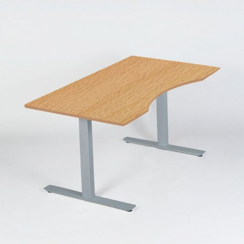 Thor hæve-/sænkebord - bøg decor - centerbue - gråt stel - 180x90cm