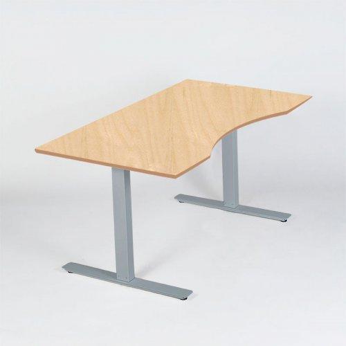 Thor hæve-/sænkebord - birkdecor laminat - centerbue - gråt stel - 180x90 cm