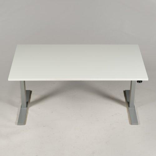Brugt Hæve-/sænkebord - Hvid m. gråt stel