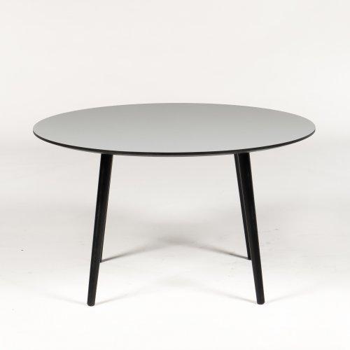 Radon - mødebord - Ø 128 cm. - grå laminat - Angle ben - sort