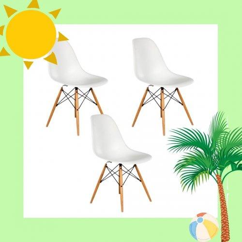 Charles og Ray Eames - Plastic Chair DSW - 3 stk