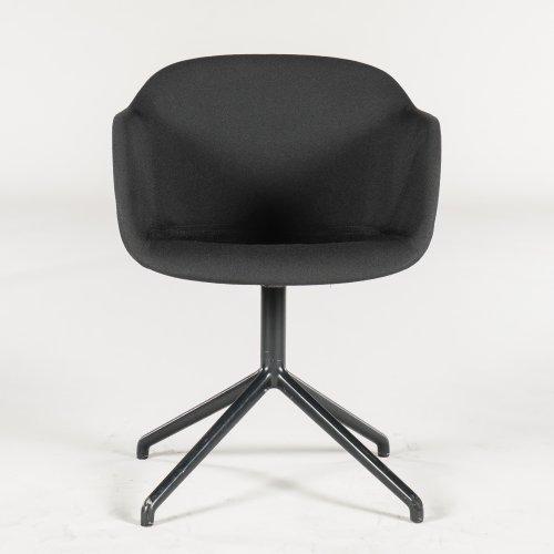 Muuto Fiber armstol/ konferencestol - sort stof - gråt stel