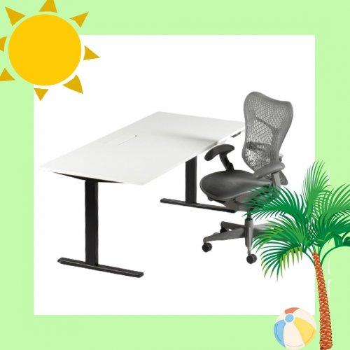 Arbejdsstation - Ragnars hæve-/sænkebord + Herman Miller Mirra kontorstol