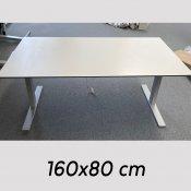Brugt hæve-/sænkebord - hvid - 160x80 cm