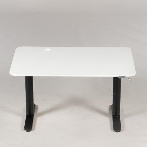 Brugt hæve-/sænkebord - hvid plade - sort stel - 120x80 cm