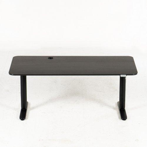 Brugt hæve-/sænkebord - sort plade - sort stel - 160x80 cm