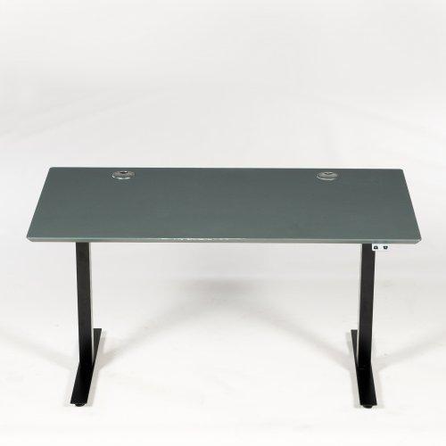 Brugt hæve-/sænkebord - pewter linoleum m. grå kant - sort stel