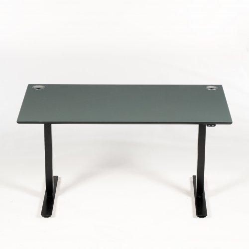 Brugt hæve-/sænkebord - pewter linoleum m sort kant - sort stel