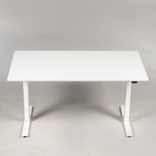 Demo Thor hæve-/sænkebord - hvid laminat - hvidt stel - 140x80 cm