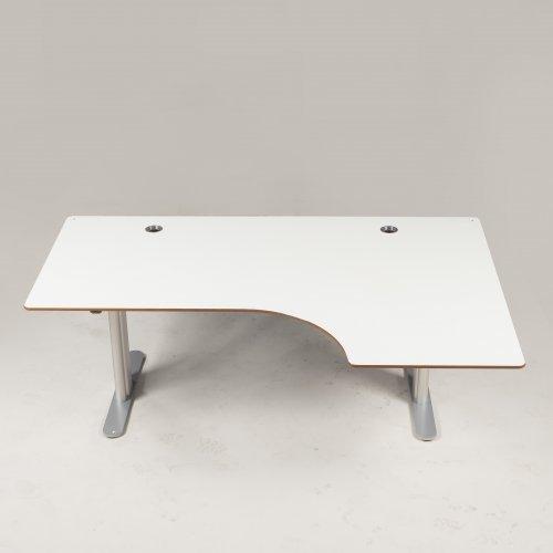 Montana hæve-/sænkebord - hvidt - gråt stel