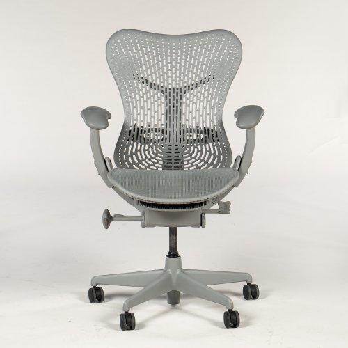 Herman Miller - Mirra kontorstol - lysgrå - forud- og bagud tilt