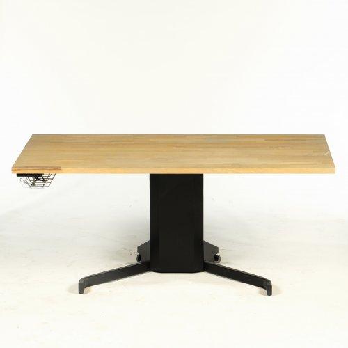 Brugt hæve-/sænkebord - træbordplade - sort en søjle stel