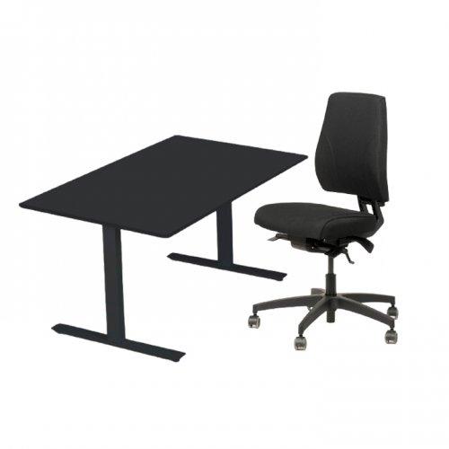 Arbejdsstation - Magna Manager kontorstol + Thor hæve-/sænkebord - 140x80 cm