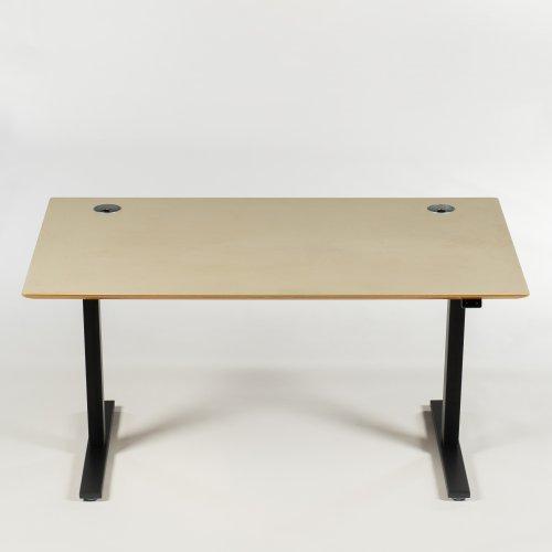 Hæve-/sænkebord - mørk beige - sort stel